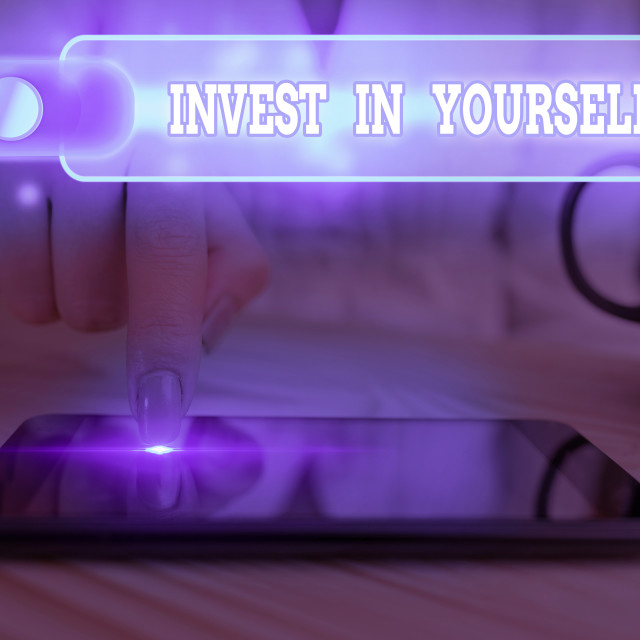 """Text sign showing Invest In Yourself. Conceptual photo nvesting in a coach or..."" stock image"