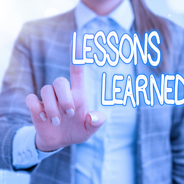 """Handwriting text writing Lessons Learned. Concept meaning experiences..."" stock image"
