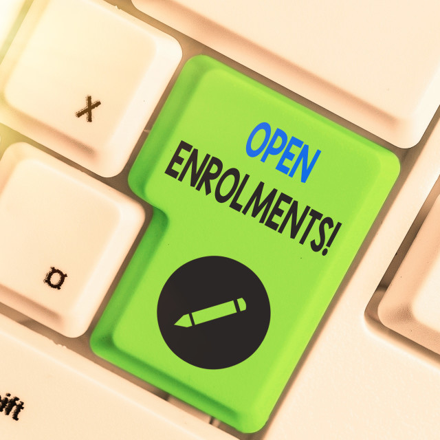 """Writing note showing Open Enrolments. Business photo showcasing when..."" stock image"