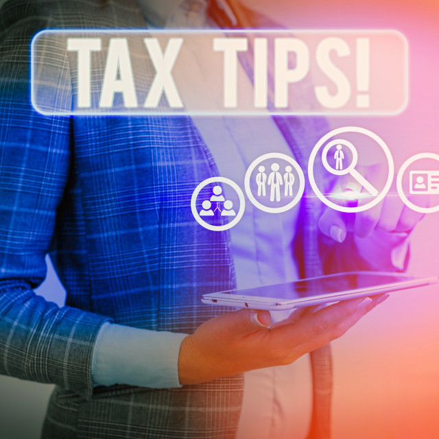 """Text sign showing Tax Tips. Conceptual photo compulsory contribution to state..."" stock image"