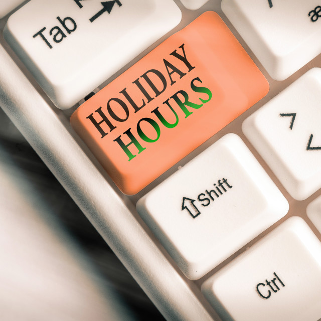 """Conceptual hand writing showing Holiday Hours. Business photo showcasing..."" stock image"