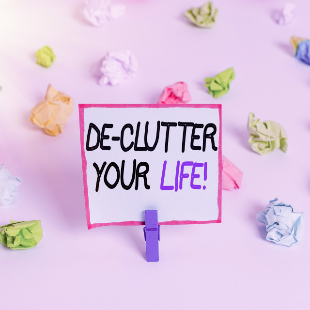 """Word writing text De Clutter Your Life. Business concept for remove..."" stock image"
