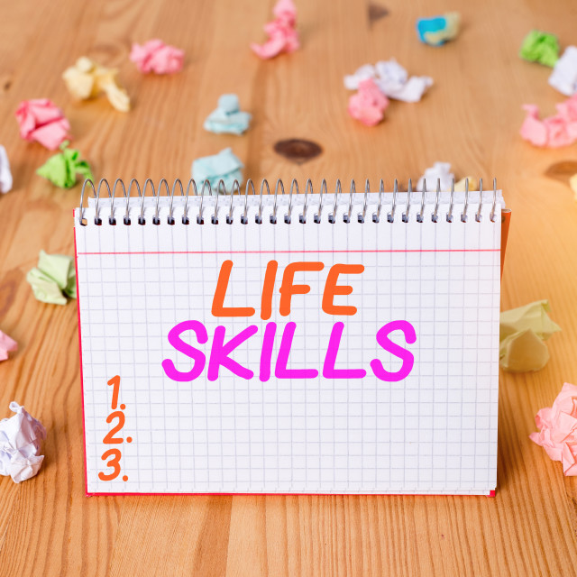 """Handwriting text writing Life Skills. Concept meaning skill that is necessary..."" stock image"