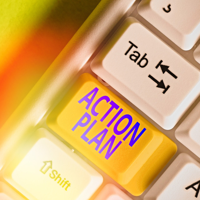"""Writing note showing Action Plan. Business photo showcasing detailed plan..."" stock image"