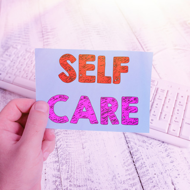 """Handwriting text writing Self Care. Concept meaning the practice of taking..."" stock image"