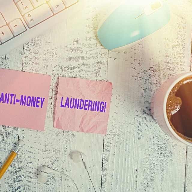 """Handwriting text Anti Money Laundering. Concept meaning regulations stop..."" stock image"