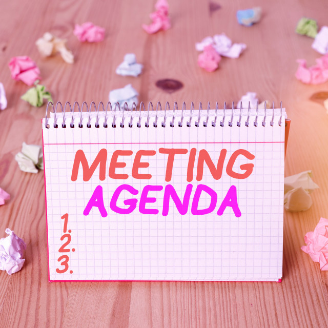 """Handwriting text writing Meeting Agenda. Concept meaning items that..."" stock image"