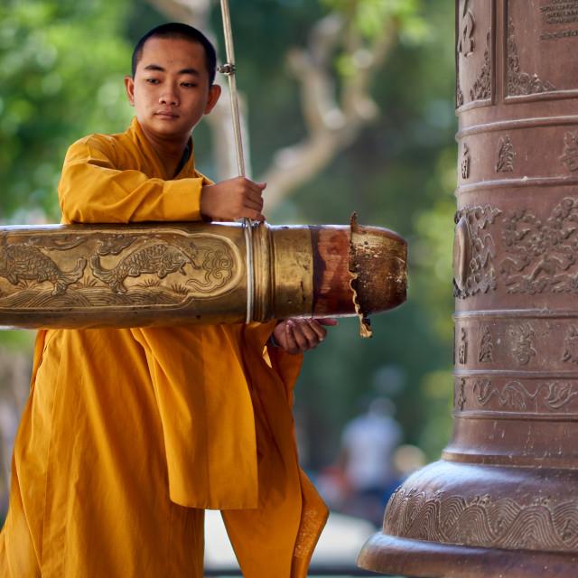 """Monk at Black Lady Mountain, Vietnam"" stock image"
