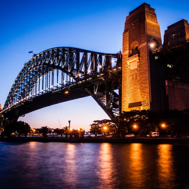 """""""The Bridge At Dusk"""" stock image"""