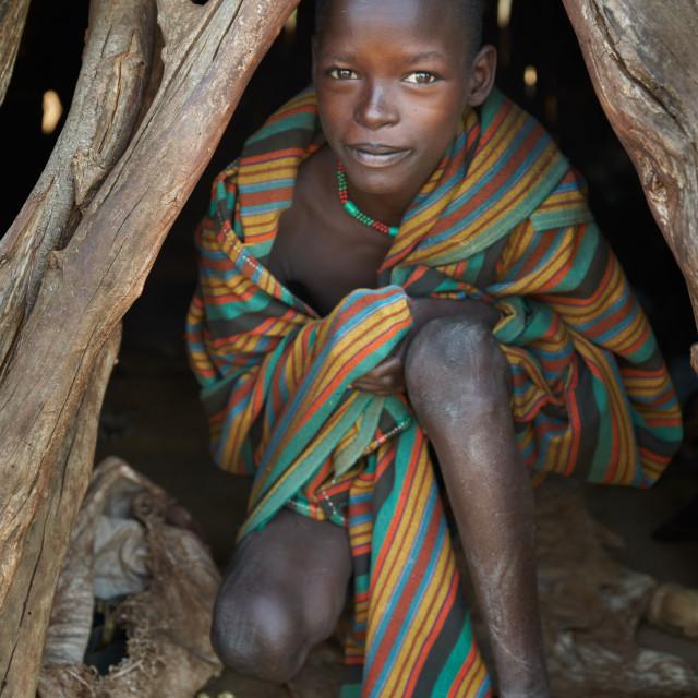 """Hamer tribe boy at home"" stock image"