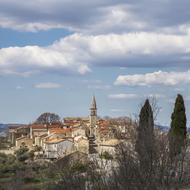 """View of picturesque village Draguc, Istria, Croatia"" stock image"