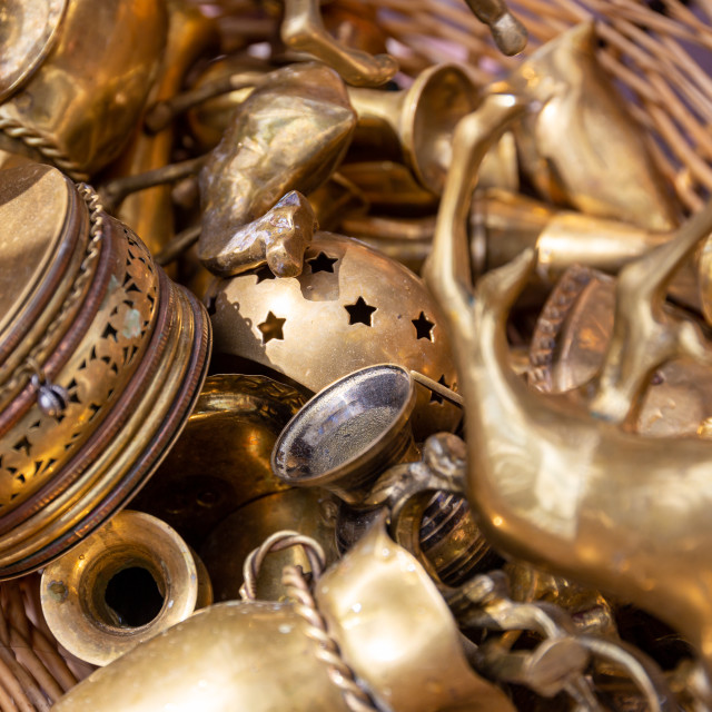 """A variety of brass collectible objects"" stock image"