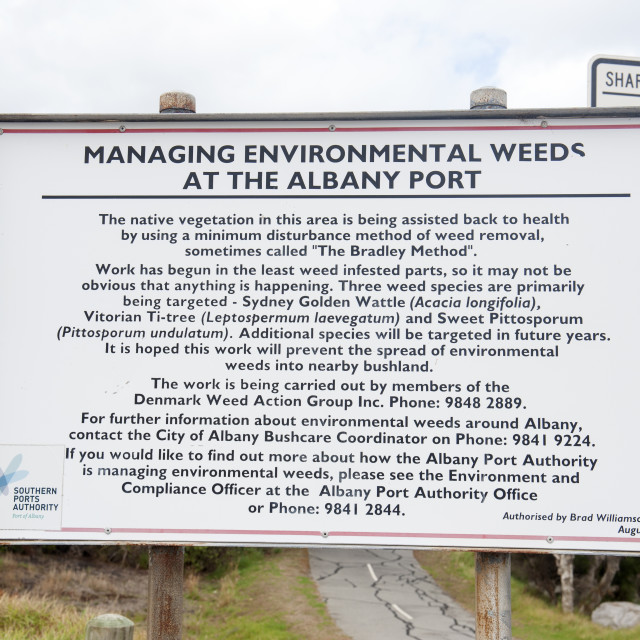 """Albany Western Australia Weed control eradicating non-native plant species..."" stock image"