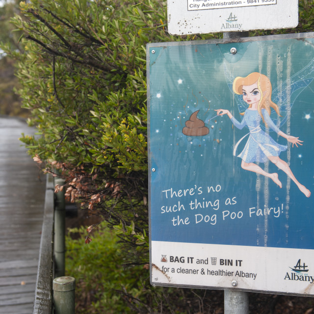 """Albany Western Australia Notice along the boardwalk saying that there is no..."" stock image"