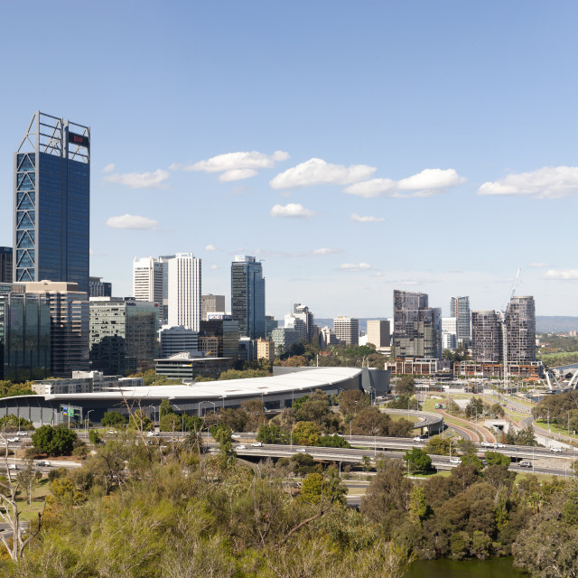 """Perth Western Australia View from Kings Park over the CBD with buildings of..."" stock image"