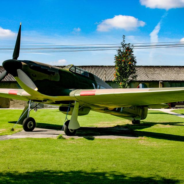 """Hurricane replica at Yorkshire Air Museum in Elvington, York, Yorkshire."" stock image"