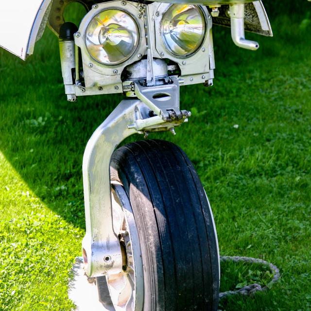 """""""Lockheed Canadair CL-30 , Silver Star, Nose wheel and Landing Lights"""" stock image"""