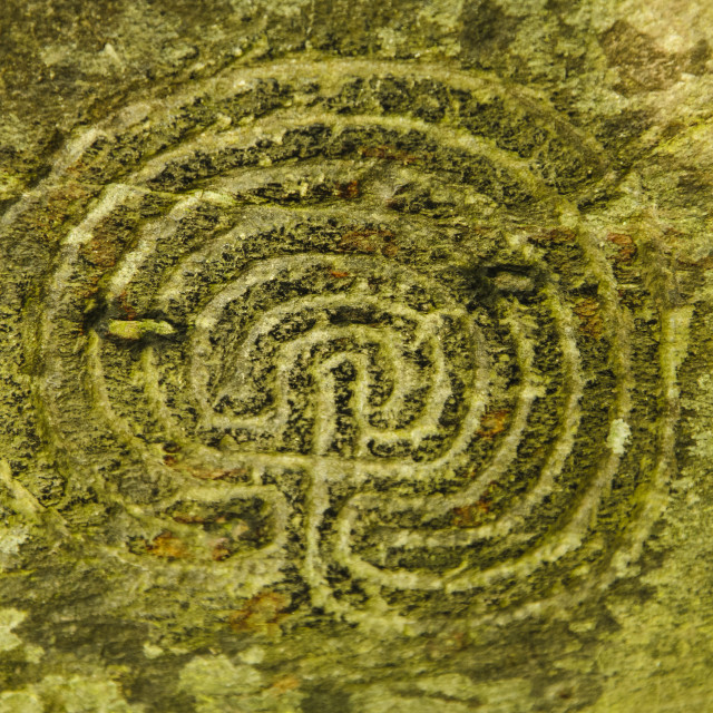 """""""Rock Carving, Rocky Valley, Cornwall"""" stock image"""