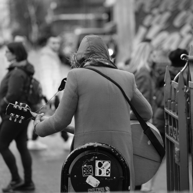 """""""The busker"""" stock image"""