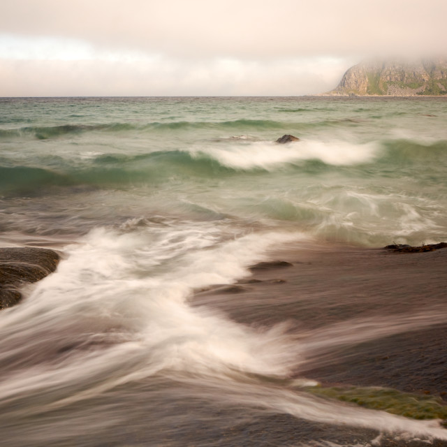 """Morning on the rocks of Uttakleiv"" stock image"