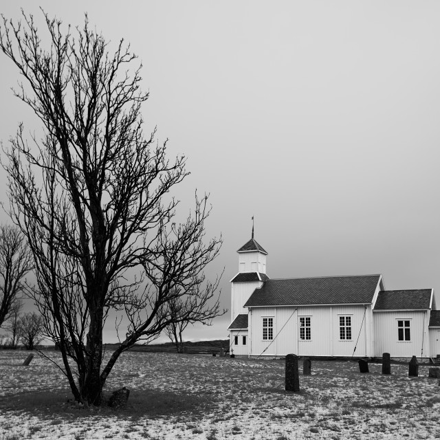 """""""First Snow at Gimsøy Kirke"""" stock image"""
