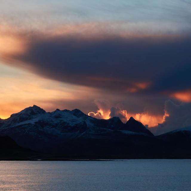 """""""Fall sunset in Lofoten"""" stock image"""