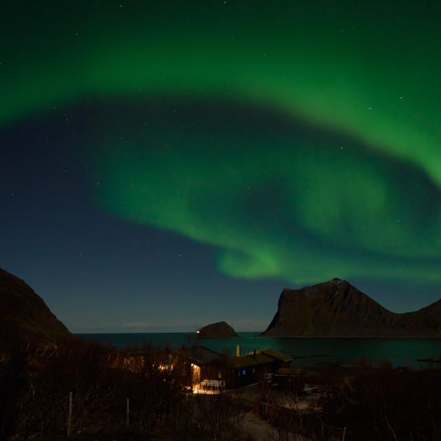 """Beautiful Northern Lights over Haukland"" stock image"