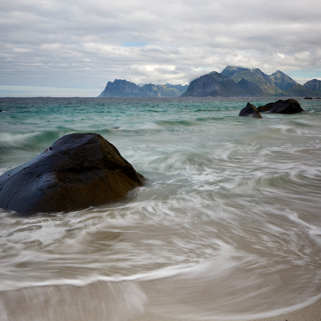 """Morning stroll on Myrland Beach"" stock image"