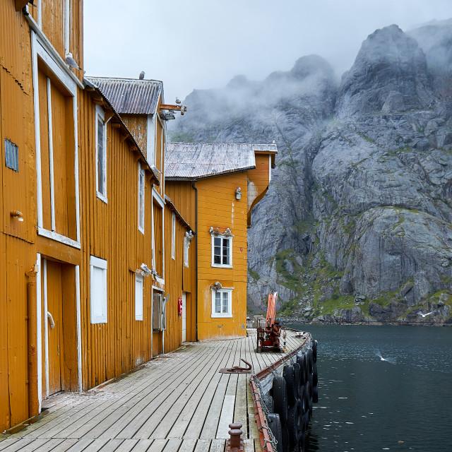"""Fishing docks - Nusfjord"" stock image"