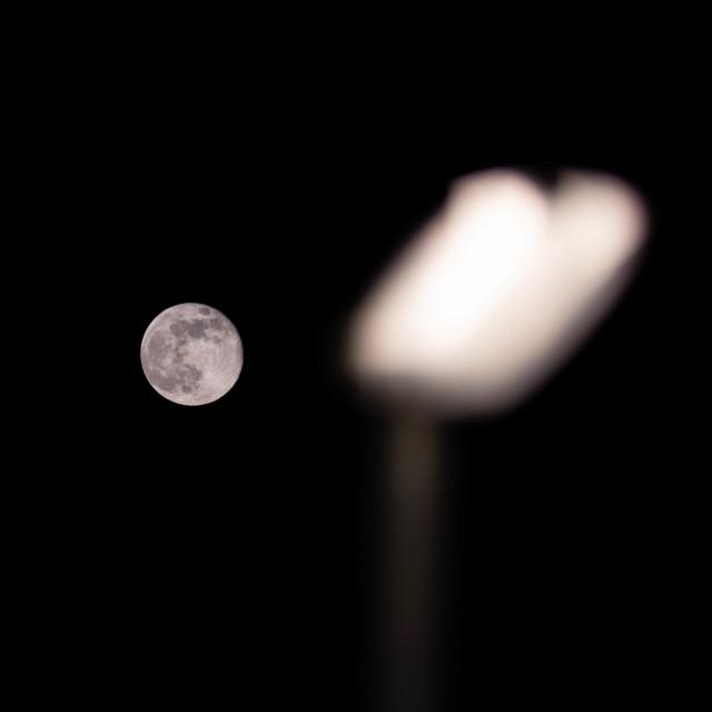 """Moon Light/Street Light"" stock image"