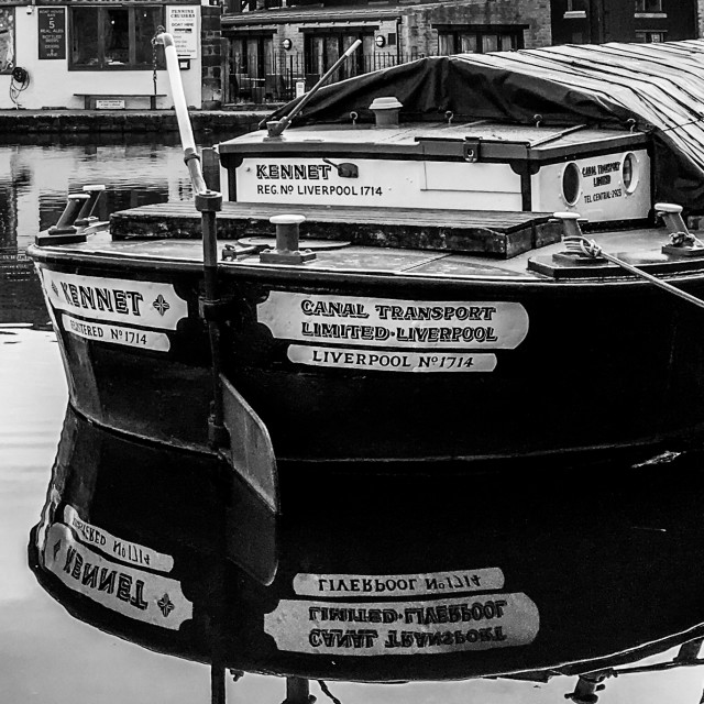 """""""Skipton Canal Basin on the Leeds Liverpool Canal. Short Boat 'Kennet'"""" stock image"""