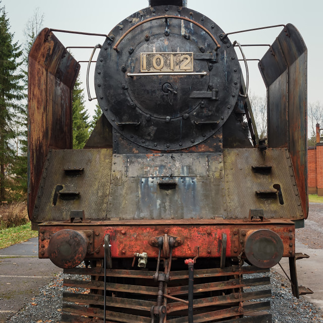 """""""Steam Engine On The Rails"""" stock image"""