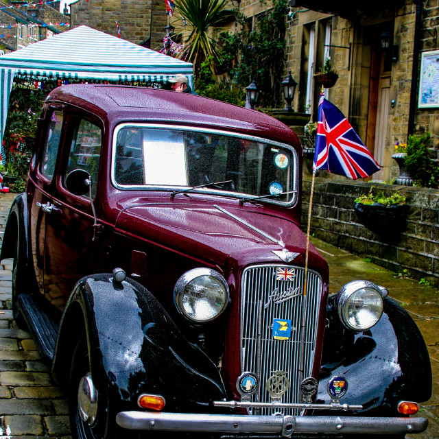 """""""Transport at the Haworth 1940's Weekend. Austin Car Vintage, Classic"""" stock image"""
