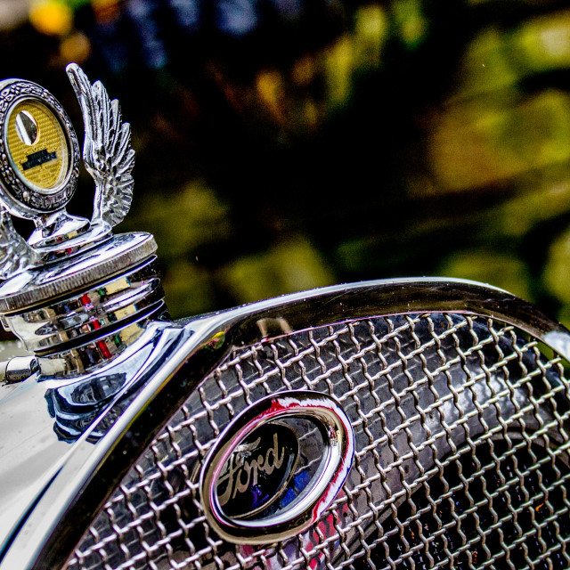 """""""Transport at the Haworth 1940's Weekend. Ford Radiator Grill and Mascot"""" stock image"""