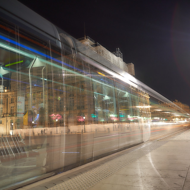 """Metro Train in Bordeaux"" stock image"