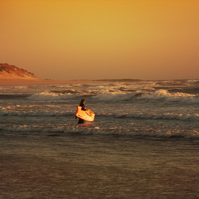 """""""Surf boarder in Portugal"""" stock image"""
