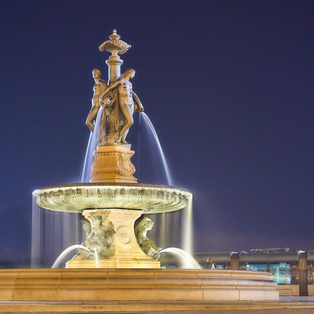 """Fountain at Place de la Bourse"" stock image"