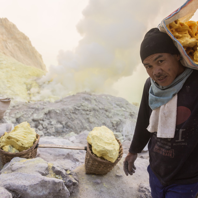 """Miner of a sulfur volcano"" stock image"