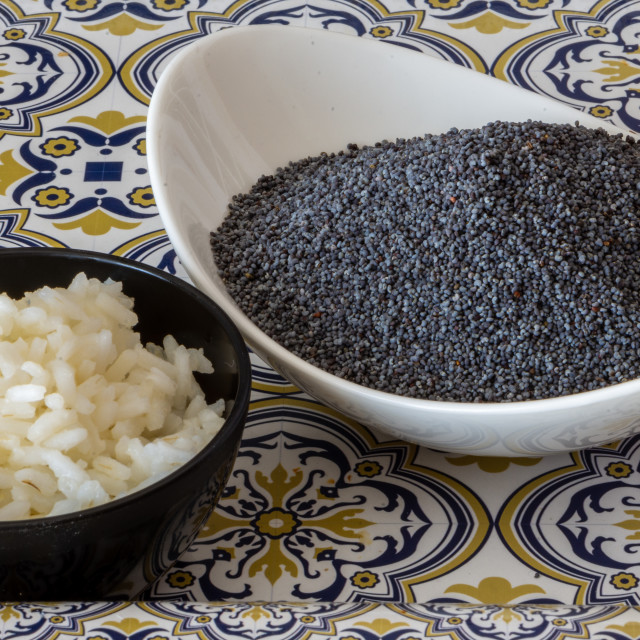"""""""Bowls containing rice and poppy seeds"""" stock image"""