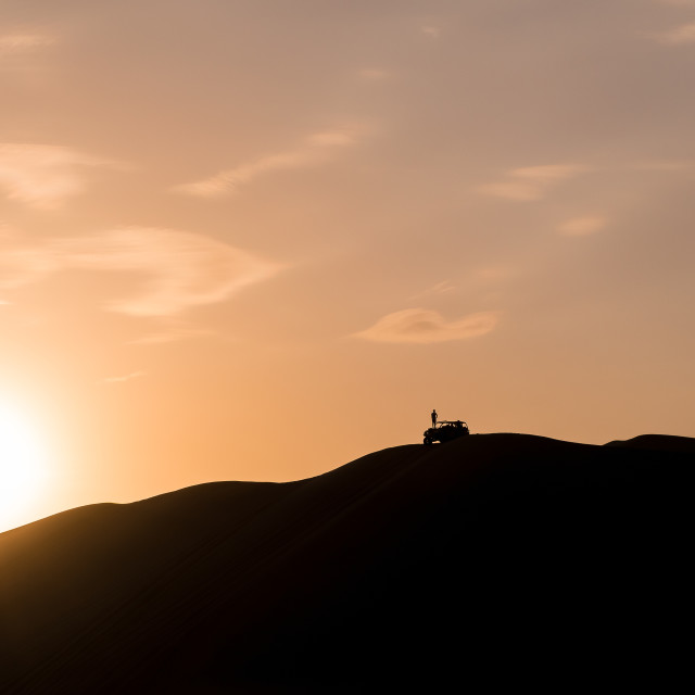 """Sunset in Huacachina Dunes"" stock image"