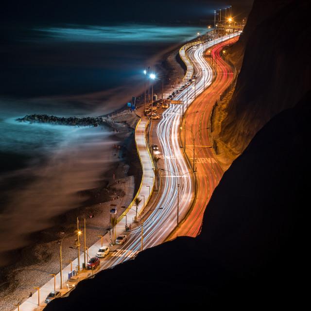 """Costa Verde Light Trails"" stock image"