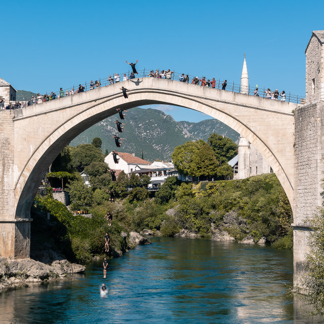 """Mostar Bridge Jumper"" stock image"