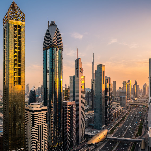 """Sunset in Downtown Dubai"" stock image"
