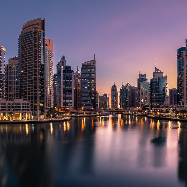 """Dubai Marina Sunrise"" stock image"