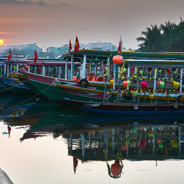"""""""Sunrise over Hội An harbour"""" stock image"""