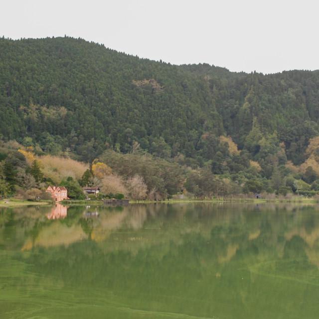 """Lagoa das Furnas landscape"" stock image"