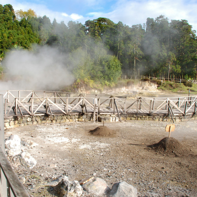"""""""Geothermal cooking holes in Furnas, Sao Miguel, Azores"""" stock image"""