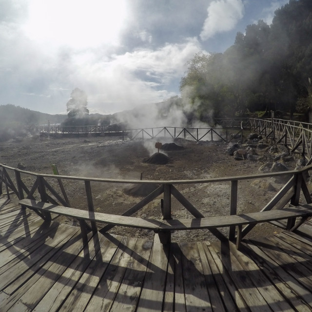 """""""Steaming volcanic pool in Furnas, Azores"""" stock image"""