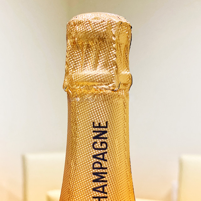 """Top of an unopened bottle of champagne"" stock image"