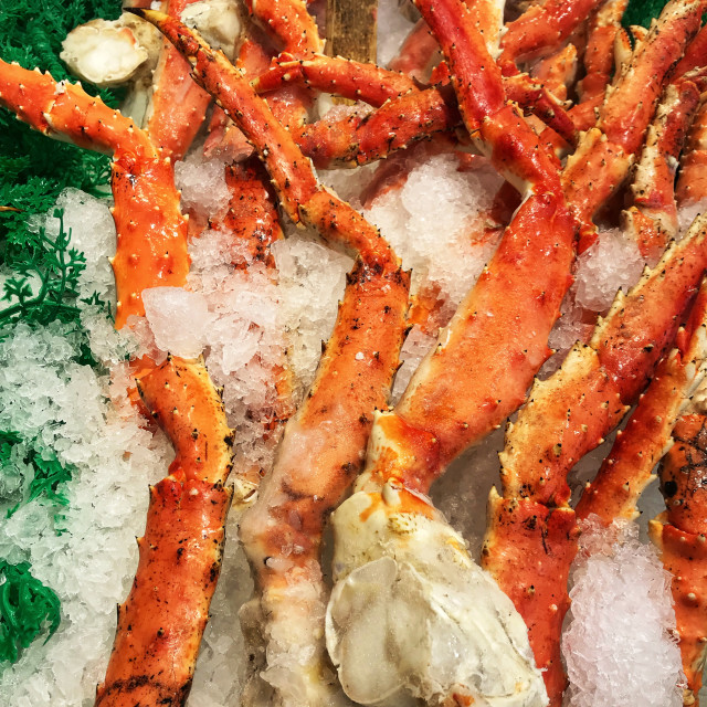 """Close up of king crab legs on ice"" stock image"